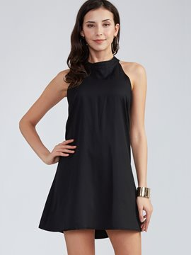 Ericdress Plain Runde Hals rückenfreie Little Black Dress