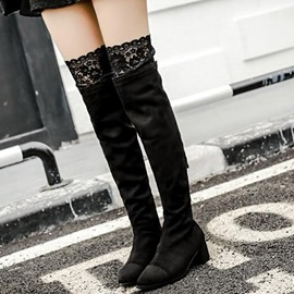 Ericdress Lace Patchwork Thigh High Boots