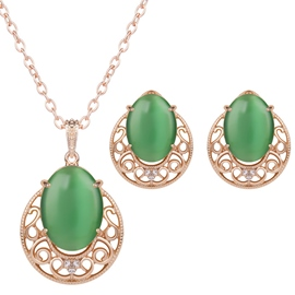 Ericdress Green Artificial Stone Inlaid Alloy Jewelry Set