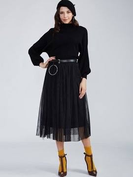 Ericdress Plain Round Neck Knitwear And Pleated Skirt Suit