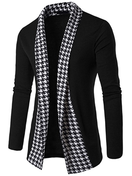 Ericdress Vogue Houndstooth Patchwork Strickjacke Herren Strickwaren