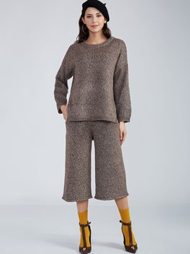 Ericdress Plain Round Neck Knitwear Bellbottoms Suit