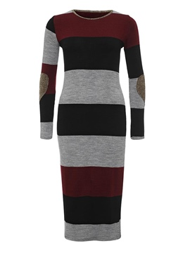 Color Block Round Neck Striped Sweater Dress
