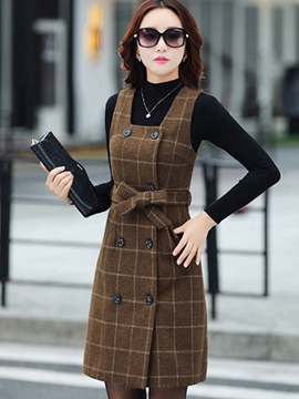 Ericdress High Neck Sweater Plaid Suspenders Bowknot Dress Suit
