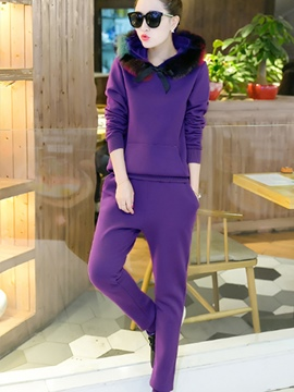 Ericdress Solid Color Hoodie Pencil Pants Suit
