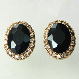 Ericdress Charming Crystal Ellipse Stud Earrings