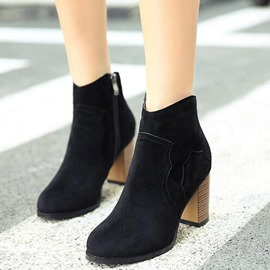 Ericdress OL Suede Chunky Heel Ankle Boots
