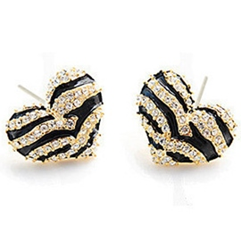 Ericdress Zebra Pattern Heart-Shaped Earrings