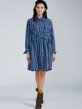 Ericdress Lapel Striped Single-Breasted Casual Dress