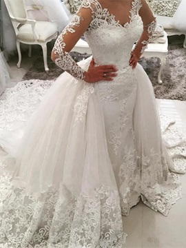 Ericdress Amazing V Neck Appliques Long Sleeves Wedding Dress