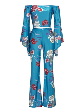 Ericdress Floral Slash Neck Bell Sleeve Pants Suit