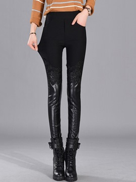 Ericdress PU Lace High-Waist Patchwork Leggings Pants
