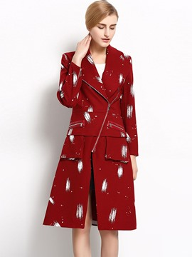 Ericdress Color Block Asymmetric Zipper Slim Coat