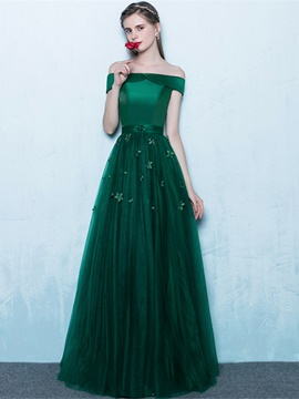 Ericdress Off-the-Shoulder Flowers Floor-Length A-Line Evening Dress