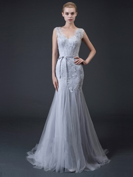 Ericdress V Neck Applique Lace Mermaid Evening Dress With Court Train