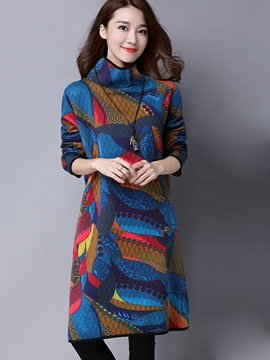 Ericdress Turtleneck Hemming Print Colorful Casual Dress