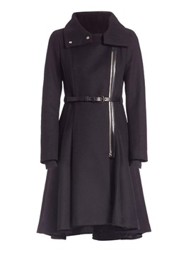 Ericdress A Line Long Zipper Belt Coat