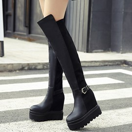 Ericdress Patchwork Platform Buckles Thigh High Boots