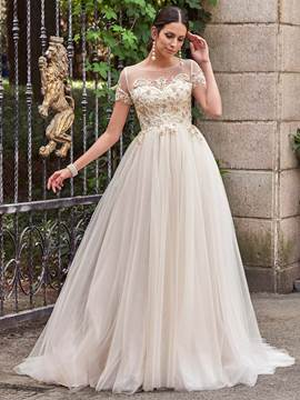 Ericdress Illusion Neck Beading Short Sleeves Wedding Dress