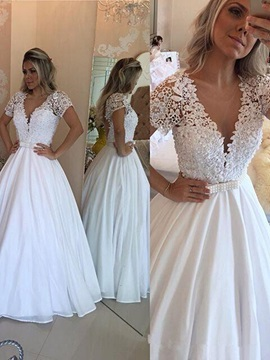 Ericdress Beading Short Sleeves Lace Wedding Dress