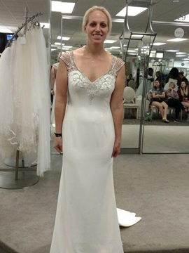 Watteau Floor-Length Beading Straps Hall Wedding Dress