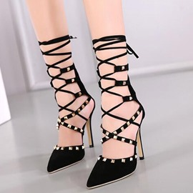 Ericdress Cross Strappy Rivets Point Toe Stiletto Sandals
