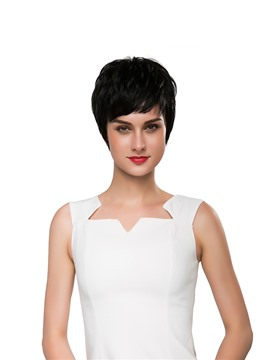Ericdress Short Straight Boy Cut Human Hair Capless Wig 10 Inches