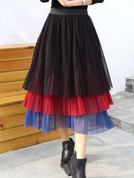 Ericdress Color Block Pleated Ball Gown Skirt