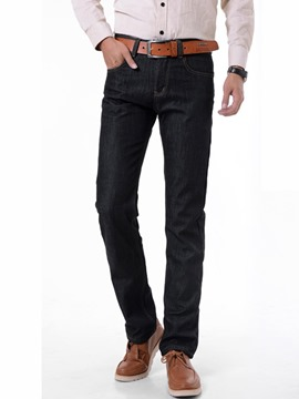Ericdress Thicken Warm Straight Denim Men's Pants