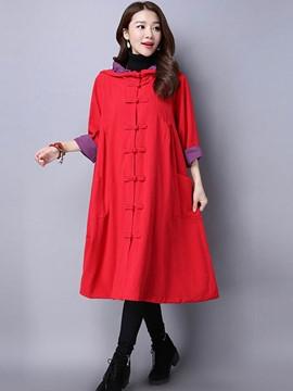 Ericdress Loose Color Block Single-Breasted Trench Coat