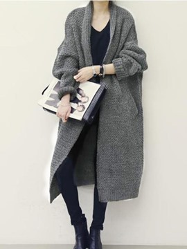 Ericdress Plain Thick Mid-Length Cardigan Knitwear