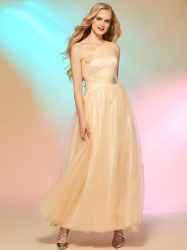 Ericdress A-Line One-Shoulder Beading Ankle-Length Prom Dress