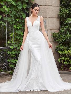 Ericdress Backless Mermaid Lace Wedding Dress with Train