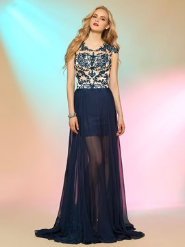 Ericdress Fancy a-line Cap Sleeves Applikationen Taste lange Prom Kleid