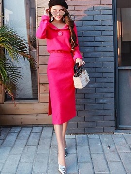 Ericdress Solid Color Long Sleeve Jacket Skirt Suit