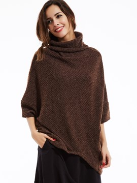 Ericdress Loose Plain Turtleneck Batwing Sleeves Knitwear