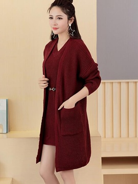 Ericdress Solid Color Wrapped Sweater Dress Suit