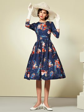 Ericdress Flower Print Patchwork Long Sleeve A Line Dress