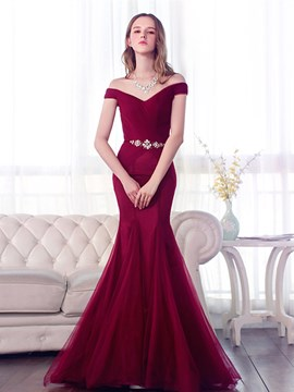 Elegant Off The Shoulder Beaded Waistline Lace Up Mermaid Evening Dress