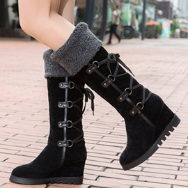Ericdress Suede Cross Strap Wedge Heel Knee High Boots