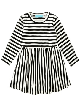 Ericdress Stripe A-Line Girl's Long Sleeve Dress