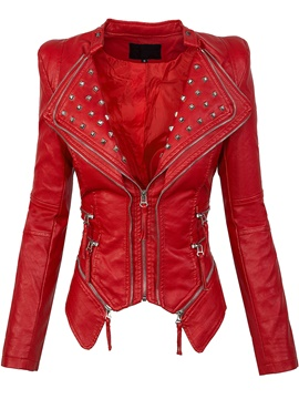 Ericdress Slim Solid Color Zipper Rivet Jacket