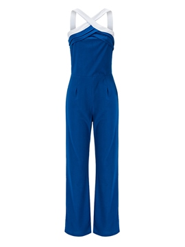 Ericdress Pleated Backless Suspenders Slim Jumpsuits Pants