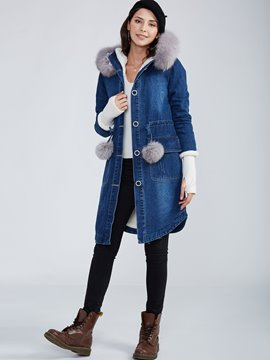 Ericdress Straight Single-Breasted Hooded Coat