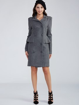 Ericdress Plain Notched Lapel Double-Breasted Coat