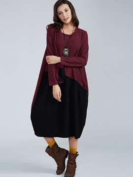 Ericdress Color Block Round Neck Lantern Casual Dress