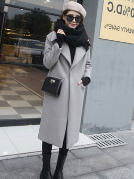 Ericdress Plain Lapel Long One Button Coat