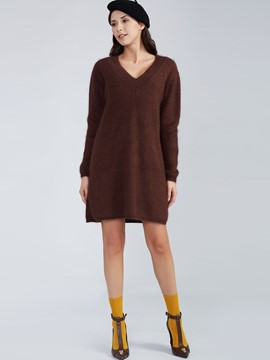 Ericdress Loose Plain V-Neck Pullover Sweater Dress