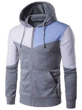 Ericdress Pocket Zip Color Block Casual Men's Hoodie