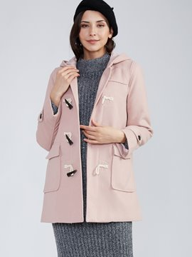 Ericdress Straight Horn Button Hooded Coat